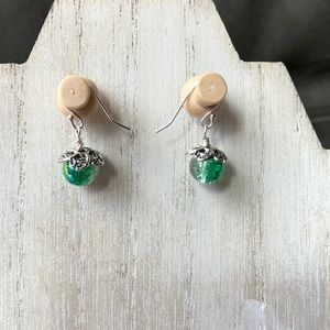 Handmade Crackle Green Dew Drop Earrings